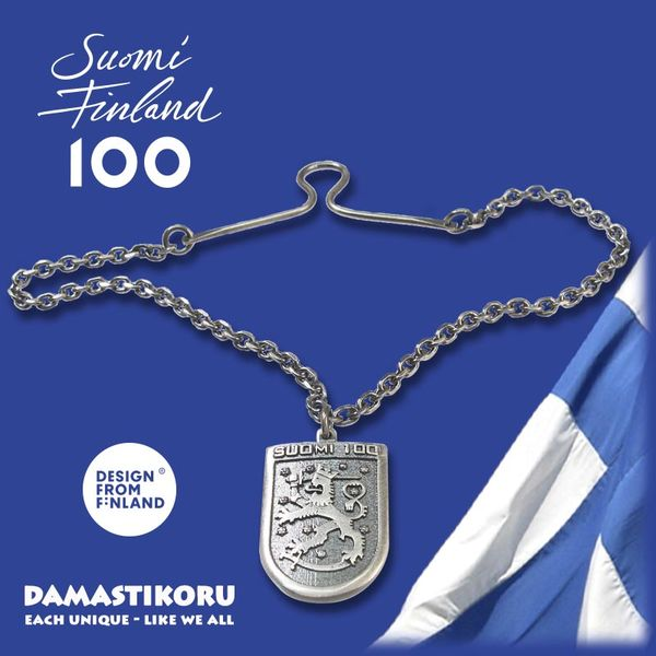Suomi 100 koru, Leijona koru, Leijona solmioneula, suomileijona koru | damastikoru